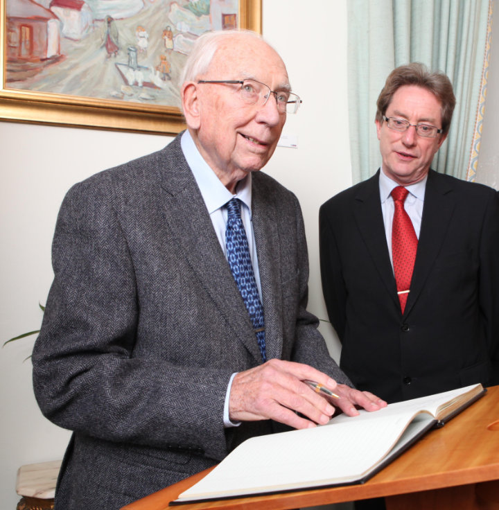 T.K. Whitaker at the establishment of the Whitaker Institute at NUI Galway, with NUI Galway President Jim Browne, 2012