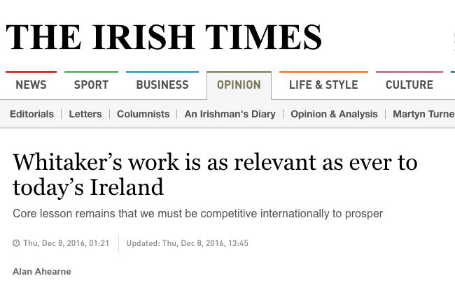 Irish Times: Whitaker's work is as relevant as ever to today's Ireland